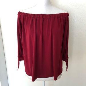 BP red off the shoulder blouse medium EUC